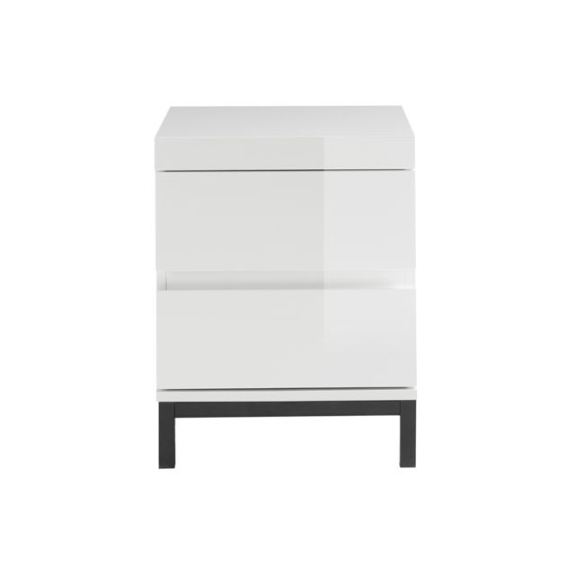Miliboo Table de chevet design 2 tiroirs blanc laqué Koll