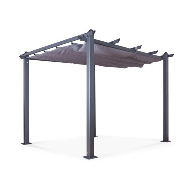 Tonnelle Pergola Aluminium 3x3m Toile Coulissante Rétractable Gris Anthracite Hero