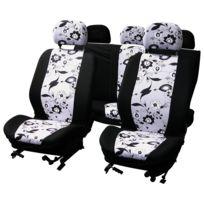 Adnauto - Jeu de couvre-sieges 9pcs -black Flower- airbag