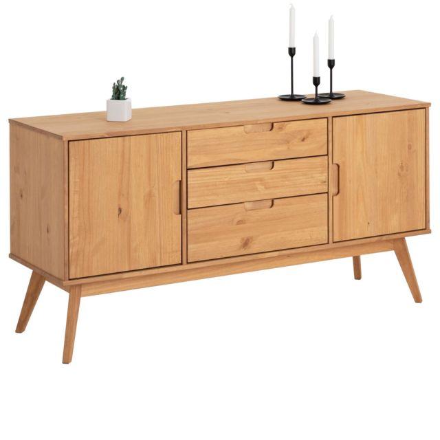 IDIMEX Buffet TIVOLI design vintage scandinave nordique commode bahut vaisselier 3 tiroirs 2 portes, pin massif finition bois t
