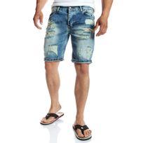 Mode Labs - Mh Studio - Short en jean bleu délavé et troué