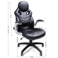 Rocambolesk - Superbe Fauteuil de bureau Chaise pour ordinateur réglable simili cuir Obg61B neuf