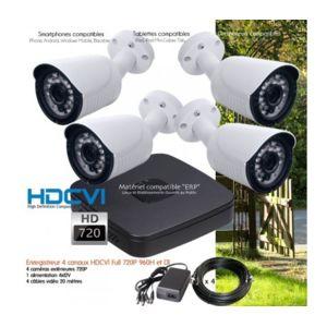 dahua syst me de vid o surveillance 4 cam ras hd 720p ext rieures capacit du disque dur. Black Bedroom Furniture Sets. Home Design Ideas