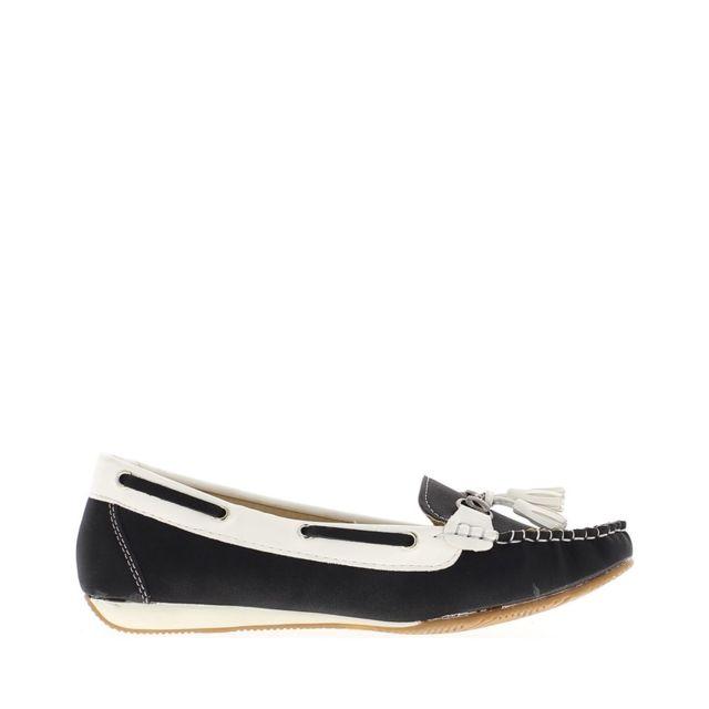 d624ac3903d49 Chaussmoi - Chaussures mocassins femme noires confort à petit talon compensé
