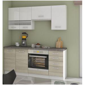 g n rique cuisine latte 180 cm ch ne et blanc pas cher achat vente cuisine compl te. Black Bedroom Furniture Sets. Home Design Ideas