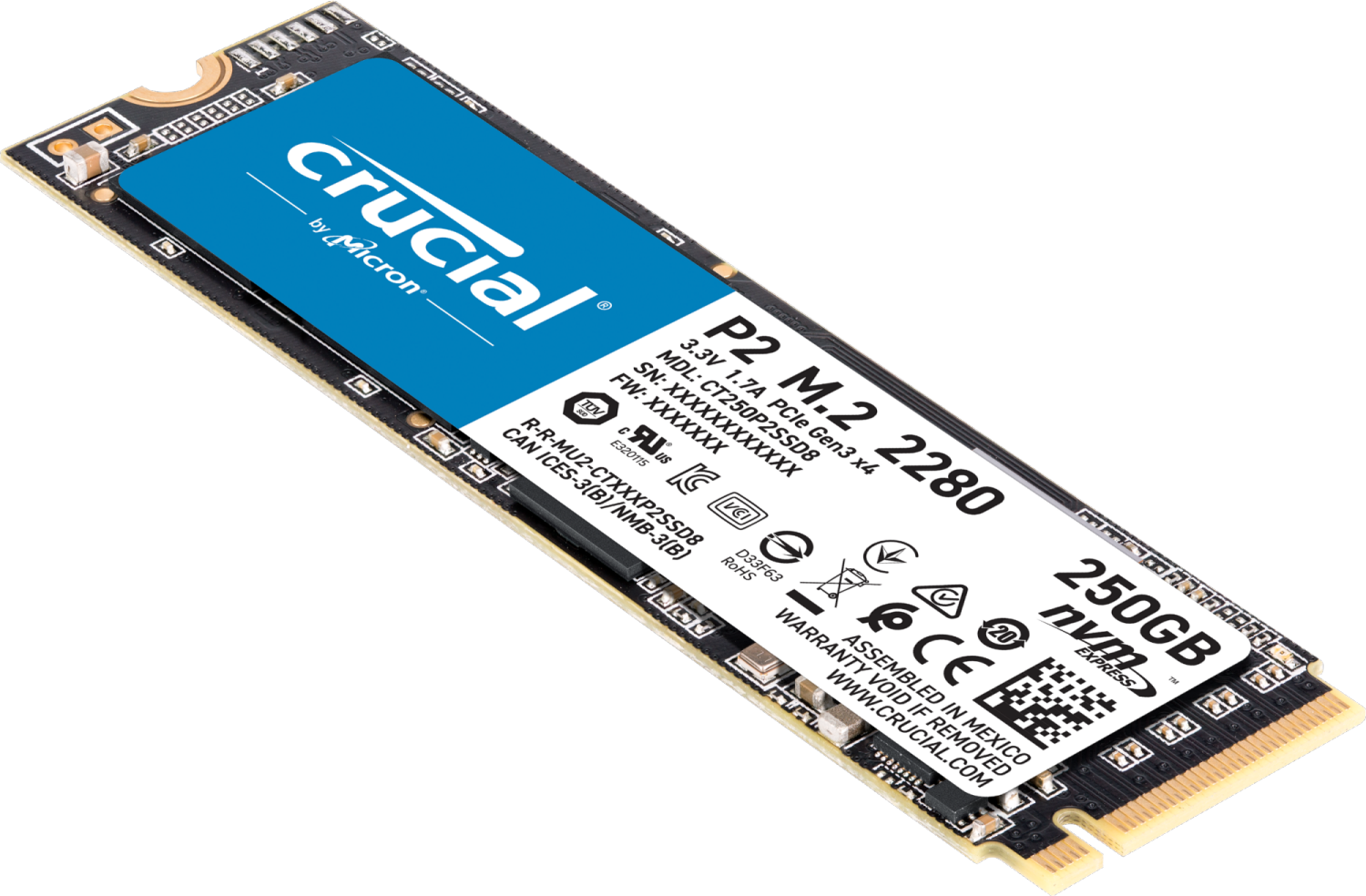 Disque SSD M.2 P2 3D Nand 250 Go Crucial