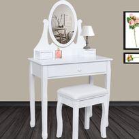 ProBache - Coiffeuse table de maquillage en bois avec miroir et tabouret