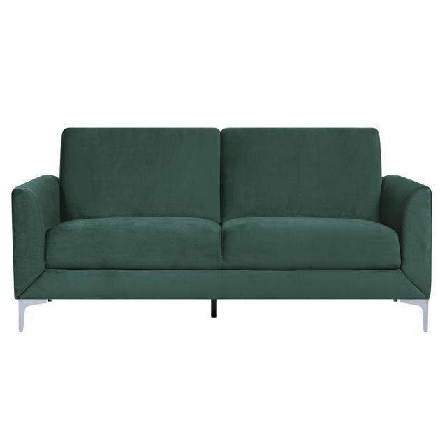 BELIANI Canapé 3 places en velours vert FENES