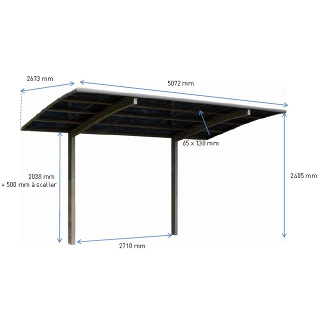 jardipolys carport delta en aluminium anodis pas cher achat vente carports rueducommerce. Black Bedroom Furniture Sets. Home Design Ideas