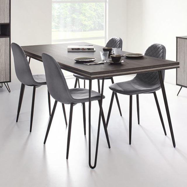 Nouvomeuble Table à manger moderne couleur bois gris Santori