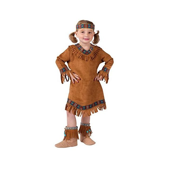 Fun World Costumes Baby Girls Native American Toddler Girl Costume Brown Large 3T-4T