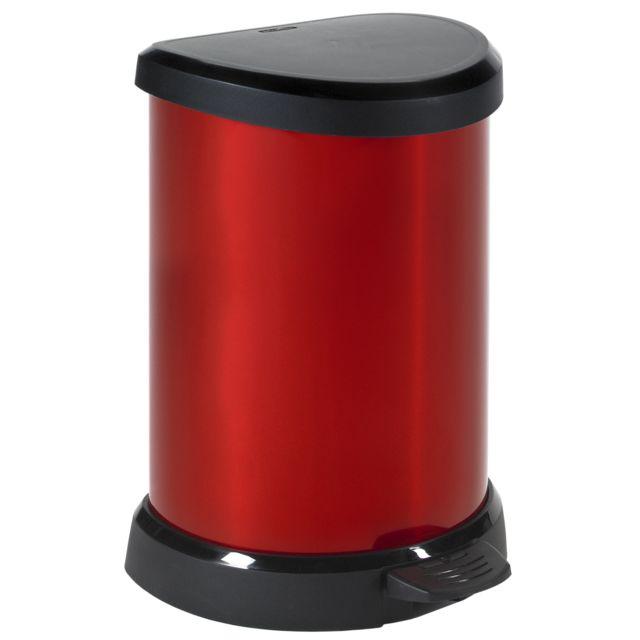 CURVER Poubelle à pédale - 20 L - Aspect métal - Rouge - 184104 Poubelle à pédale aspect métal rouge.