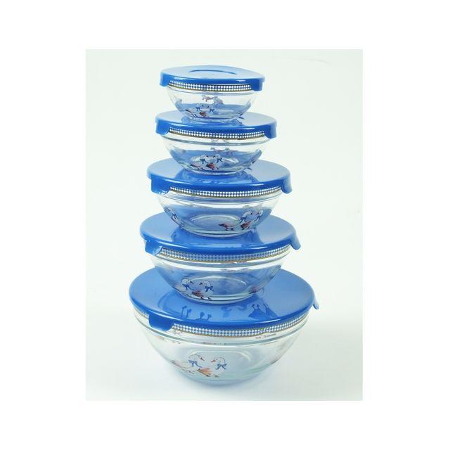 MAISON FUTEE Bols en verre gigognes bleu lot de 5