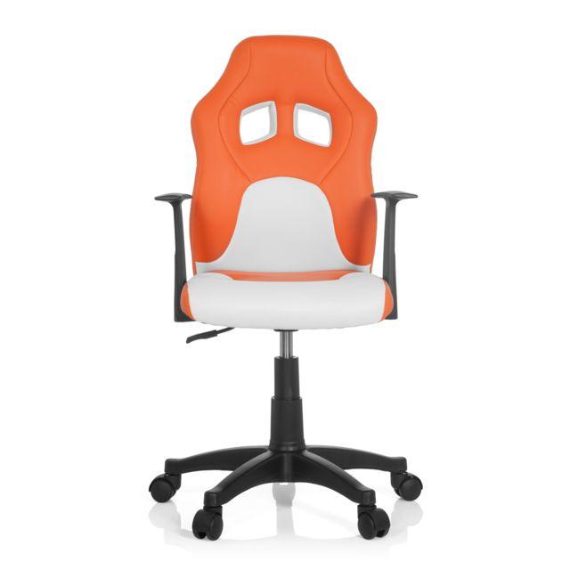 hjh office chaise de bureau si ge pivotant teen racer al orange blanc pas cher achat. Black Bedroom Furniture Sets. Home Design Ideas