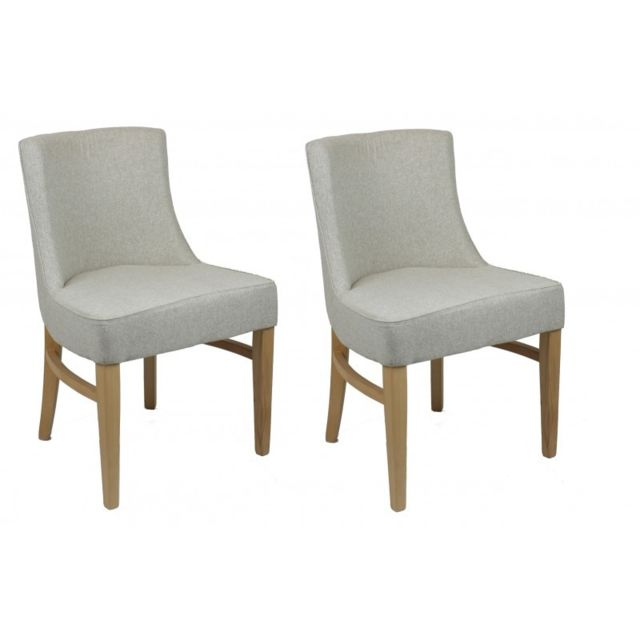 Meubletmoi Lot 2 chaises pied bois et tissu ultra