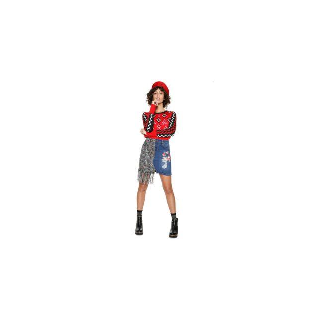 DESIGUAL Jupe Femme Bimatiere Nadia jean et Motifs 18WWFD06 - Taille - 36