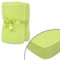 Rocambolesk - Superbe 2 draps-housses vert pomme en jersey de coton 120 x 200 - 130 x 200 cm Neuf