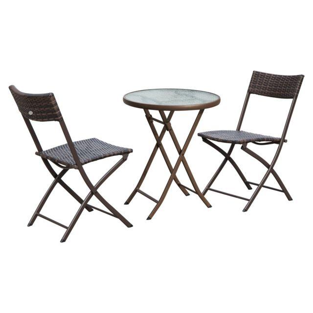 OUTSUNNY - Ensemble salon de jardin 2 places table ronde pliable ...