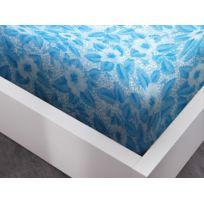 Today   Protège Matelas 160x200 Intégral Polyester Feuilles Bleu/blanc  Protec