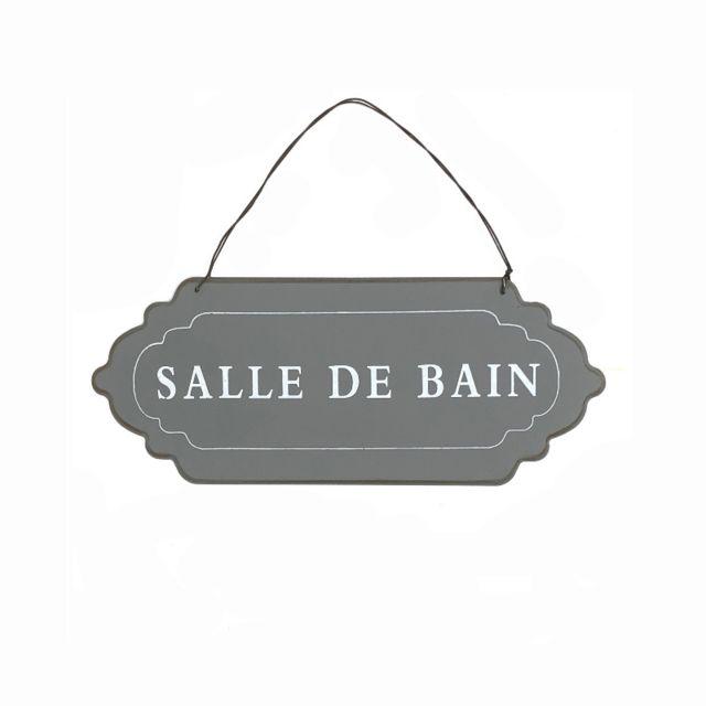 Plaque De Porte Salle De Bain Murale Gris 12cm