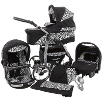 LUX4KIDS - Daytona Poussette Trio 3en1 Nacelle Siège auto Poussette Canne Roues pivotantes Accessoires 72 noir & léopard de neige