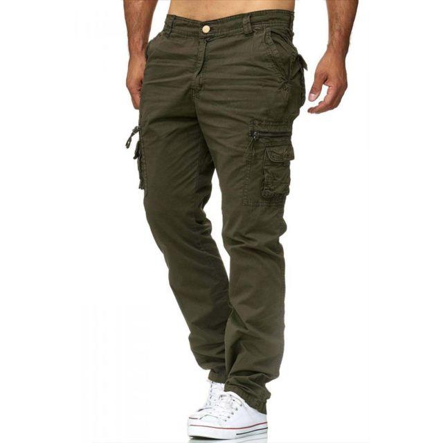 violento pantalon treillis cargo kaki pour homme vert. Black Bedroom Furniture Sets. Home Design Ideas