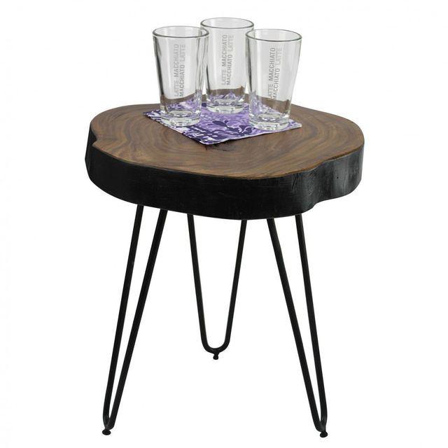 Comforium Table d'appoint ronde 35 x 35 cm avec un plateau en sheesham massif et 3 pieds en métal