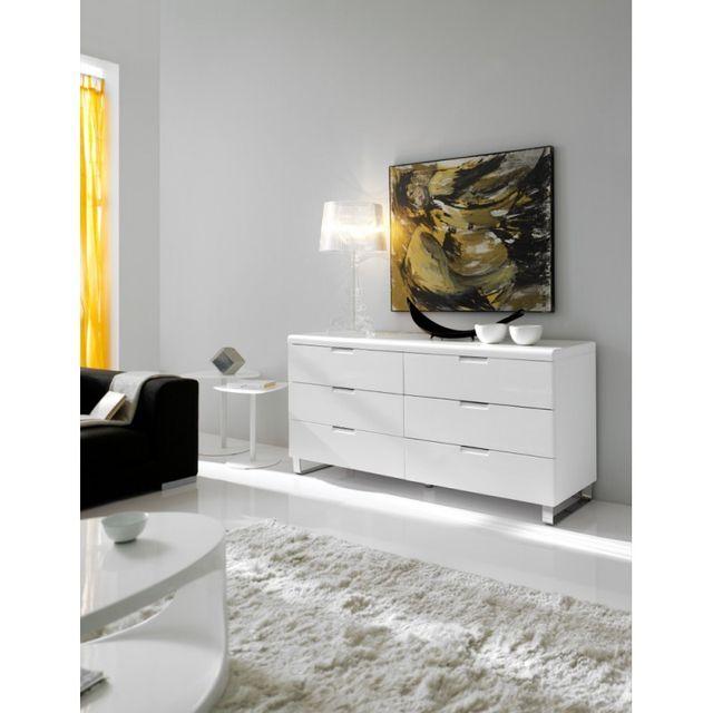 Ma Maison Mes Tendances Commode 6 tiroirs en bois laqué brillant blanc et pieds chromés Valentina - L 160 x l 45 x H 75