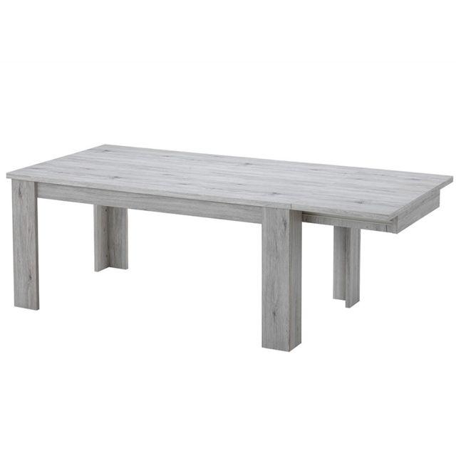 Nouvomeuble Table extensible pas chère contemporaine couleur chêne Eldina