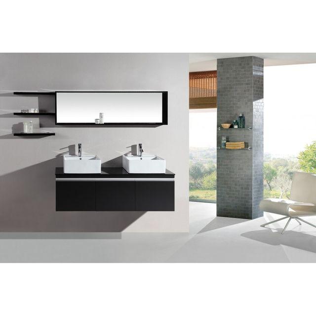 Rocambolesk Magnifique ensemble meuble salle de bain complet mercure 2 vasques 2 miroirs