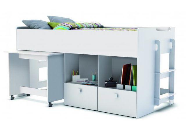 Lit Combine Pour Enfant 90x200cm Avec Bureau Et Rangement Blanc Alto