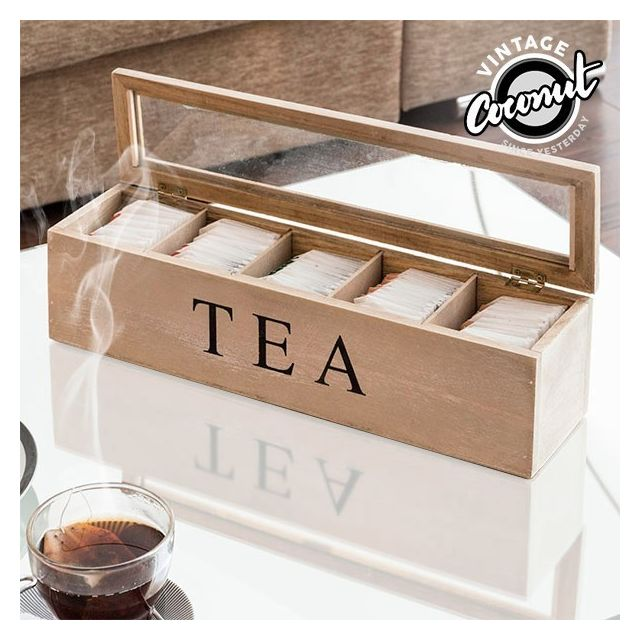 Totalcadeau Boîte à Thé avec compartiments - Rangement sachet de thé rétro vintage
