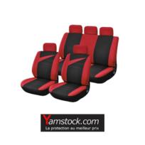 Peraline - Housse de sieges voiture noir / rouge universelle 9 pieces