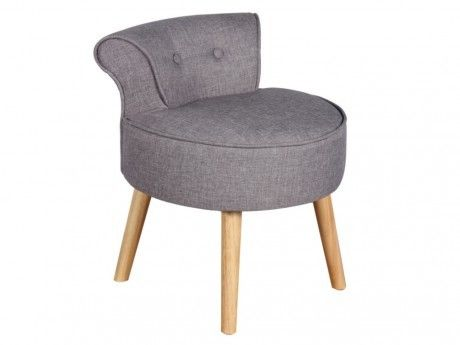 Vente-unique Petit fauteuil crapaud Savea en tissu - Gris chiné