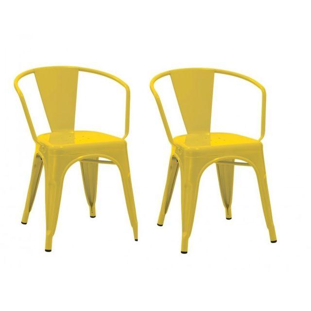 Chaises jaunes métal