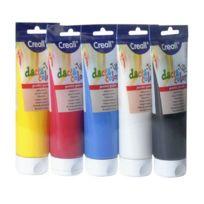 Creall - lot de 5 tubes de 250 ml de gouache concentrée. couleurs assorties