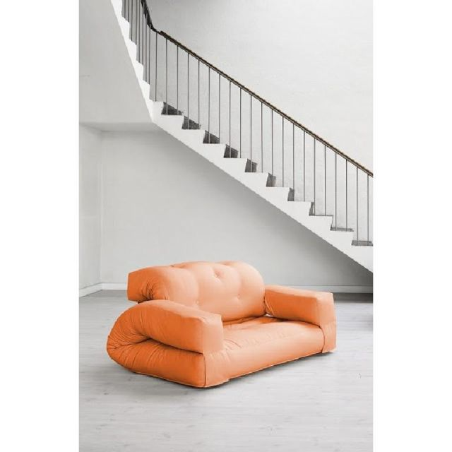Inside 75 Fauteuil lit 2 places Hippo futon orange couchage 140 200 25cm