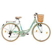 KS CYCLING - Vélo pour dame 28'' Cantaloupe menthe avec panier Dacapo TC 48 cm