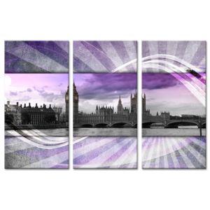 Declina - Tableau triptyque photo Londres sur toile imprimée 80cm x 120cm