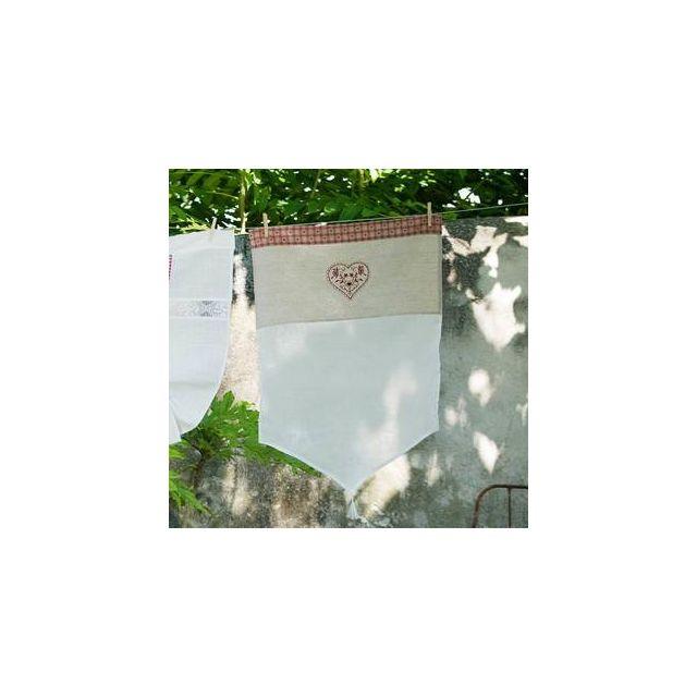 Home Stories - Voilage à passant blanc cœur brodé lin/pes 60x90cm ...