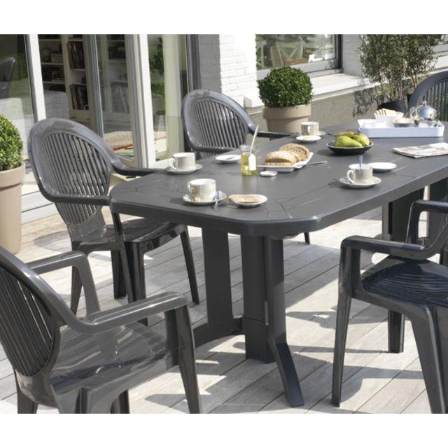 Grosfillex - table de jardin vega 165/220 x 100cm anthracite ...