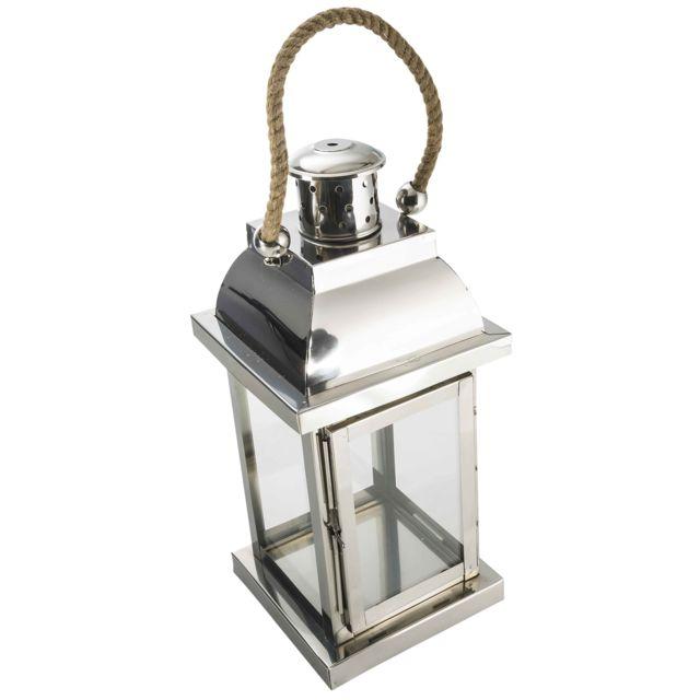 Provence Outillage Lanterne inox et verre 38x18x18cm