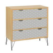 Jardin D'ULYSSE - Commode 3 tiroirs imprimés en bois et pieds métal L80 cm Graphic - Poissons