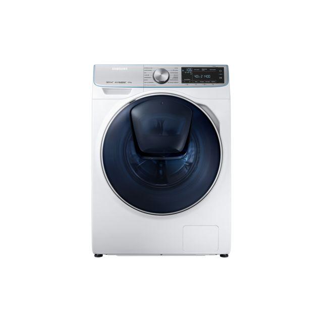 Samsung Lave-linge QuickDrive - WW90M74FNOA - Blanc Capacité : 9 Kg - Ecran LED - Niveau sonore : 49 dB lavage / 73 dB essorage - Vitesse d'essorage : 1400 trs/min - Arrêt différé ( 3 à 19 h ) - 15 programmes - Indicateur du temps restant - Technologie Qu