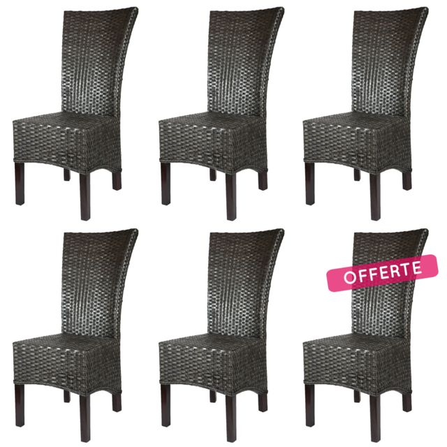 rotin-design - lot de 6 chaises alma en rotin - pas cher achat