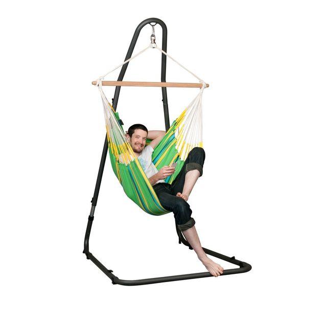 La Siesta - Chaise-Hamac Basic Currambera kiwi + Support pour Chaise-Hamac MediterrÁNEO