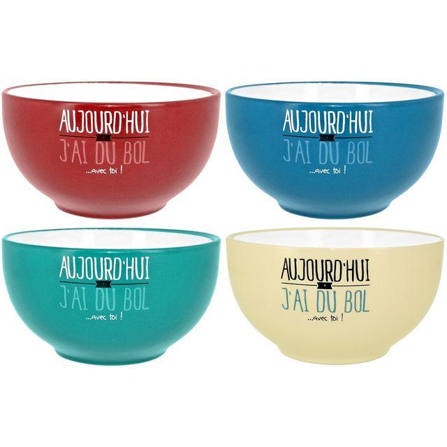 Promobo Lot Ensemble 4 Bols A Déjeuner Soupe Inscription Fun Collection Je Suis Aujourd'hui