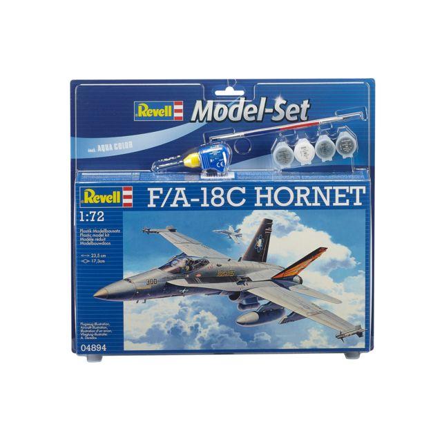 REVELL Model Set F/A-18C HORNET Model Set : maquette plastique à monter, à coller et à peindre - Contient les 4 principales peintures, 1 colle et un pinceau