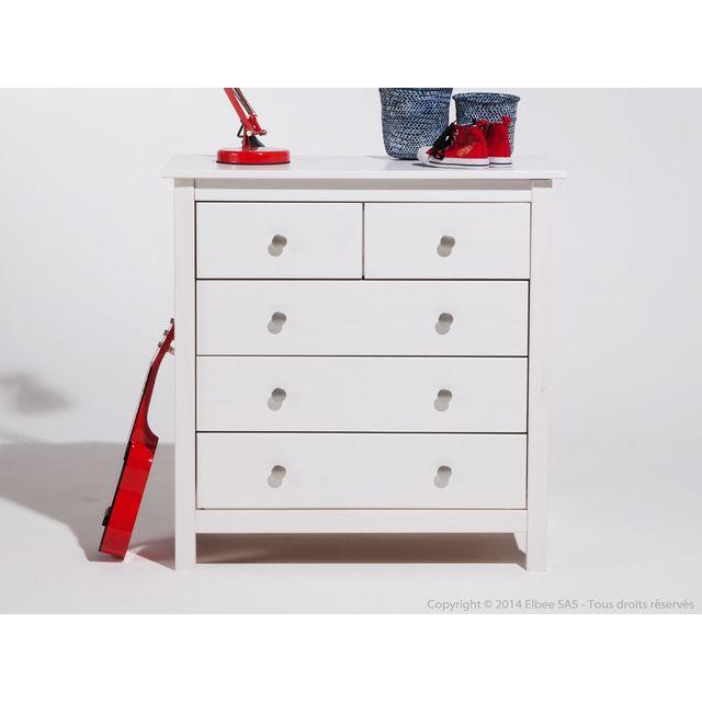 Marckeric Commode en bois blanc avec 5 tiroirs Berna