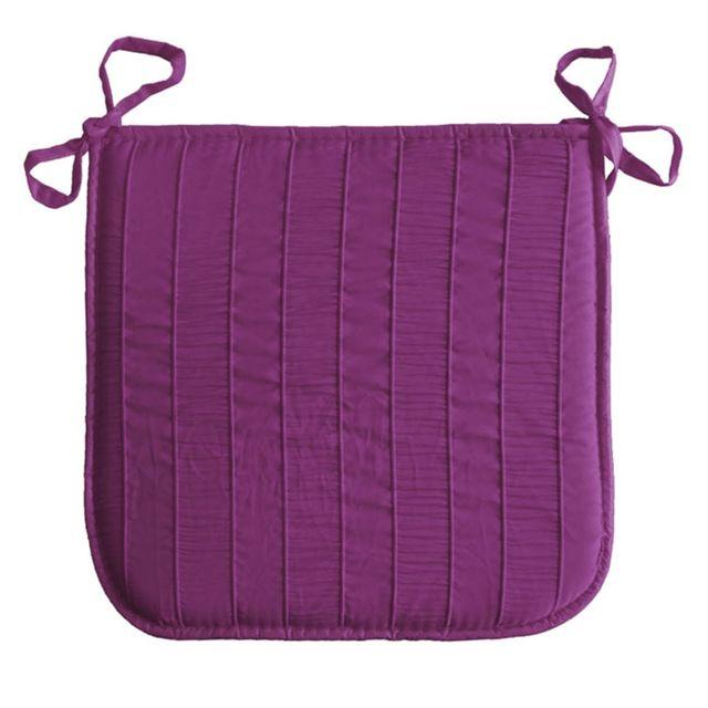 Douceur D'INTERIEUR Coussin galette de chaise Jacquard rayure violet 40 x 40 cm